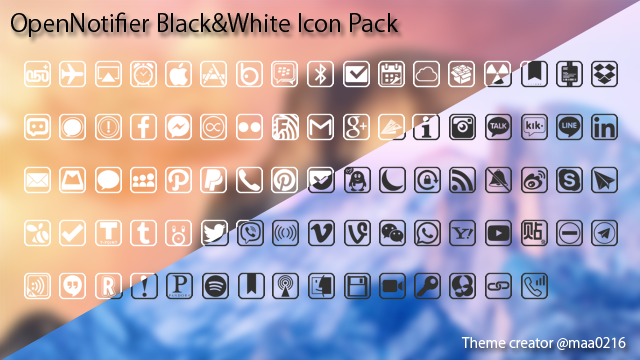 [JB][Themes] 『OpenNotifier Black & White Icon Pack』